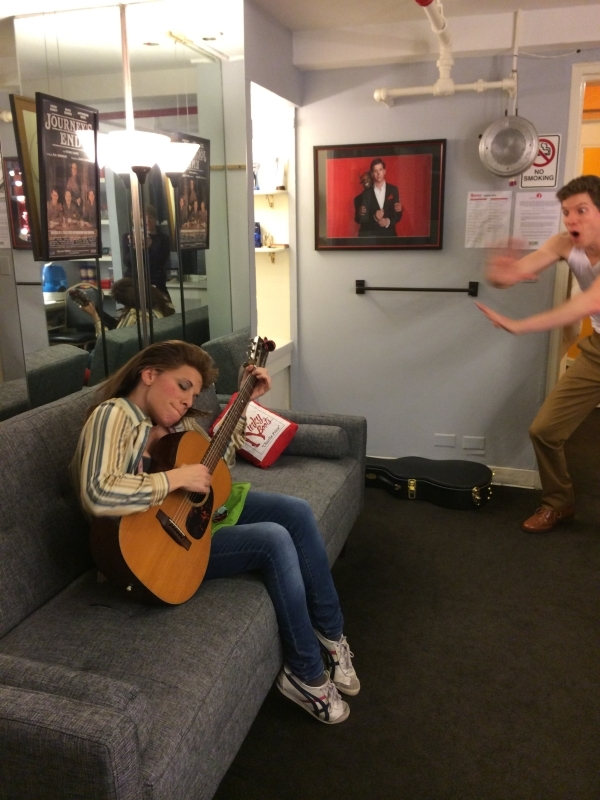 <p>On my way up for act 2, I swing by Stark Sands&#39&#x3B; room for a little jam session. I grab his 1964 Martin 0-18, and play a diddy.</p>