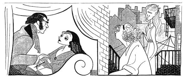 <p>On March 25, 1945, Al Hirschfeld included <em>The Glass Menagerie</em> in a diptych with Katharine Cornell and Brian Aherne in the third (and final) revival of <em>The Barretts of Wimpole Street</em>. Hirschfeld&#39&#x3B;s drawing gives the two shows equal weight.</p><br />courtesy of the Al Hirschfeld Foundation