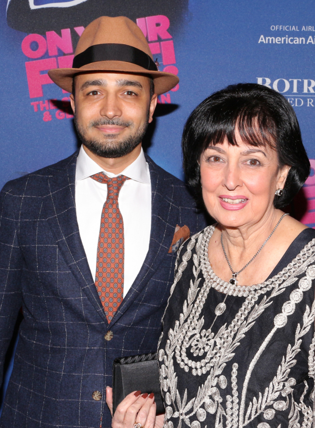 <p><em>On Your Feet!</em> assistant director Andy Señor Jr. brought his mom to the show.</p><br />(© David Gordon)