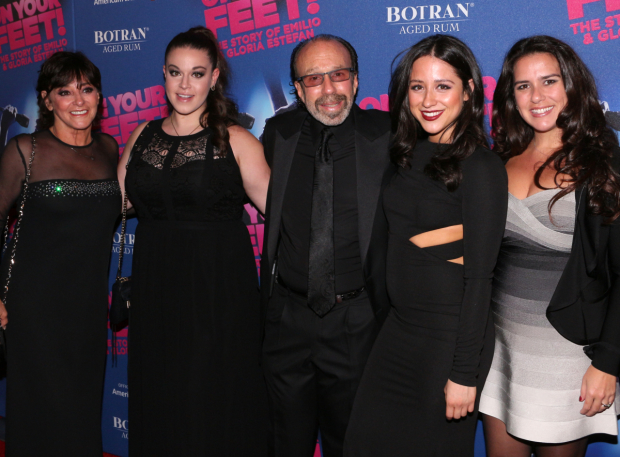 <p><em>On Your Feet!</em> producer Bernie Yuman takes a photo with his lovely family.</p><br />(© David Gordon)