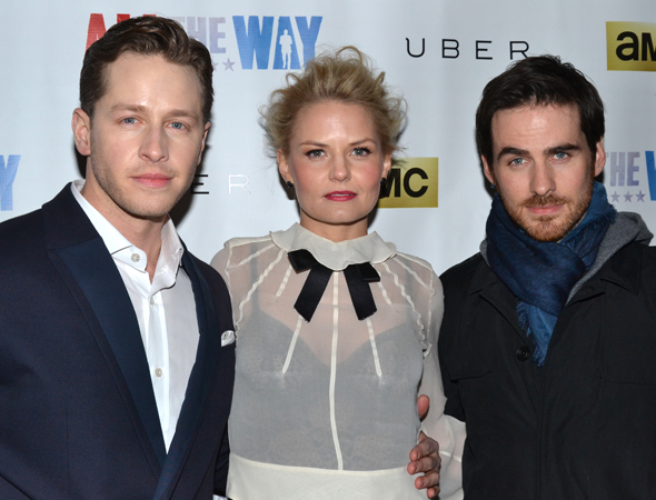 <p><em>Once Upon a Time</em> stars Josh Dallas, Jennifer Morrison, and Colin O&#39&#x3B;Donoghue show their affection for Broadway.</p><br />(© David Gordon)