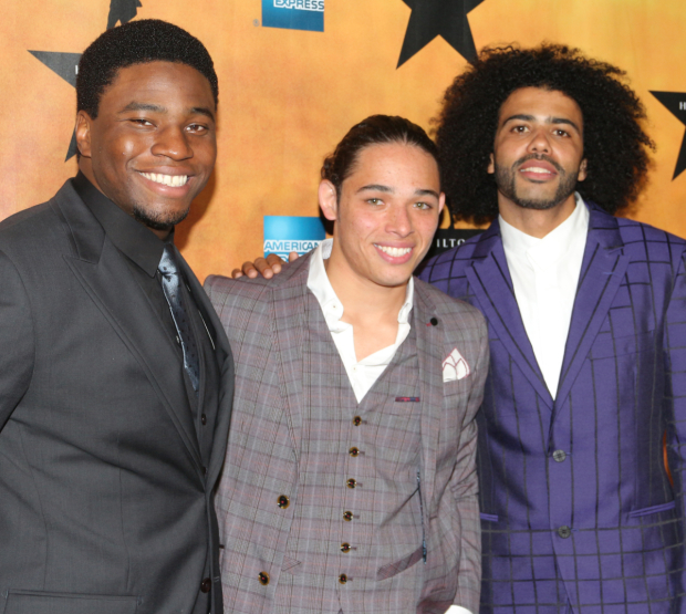 <p>Onstage and offstage, Okieriete Onaodowan, Anthony Ramos, and Daveed Diggs are good buddies.</p><br />(© David Gordon)