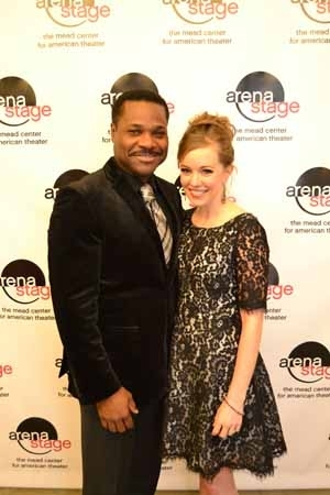 <p>Onstage fiancés Warner and Lind celebrate opening night for <em>Guess Who's Coming to Dinner</em> at Arena Stage. </p><br />(Courtesy of Arena Stage)