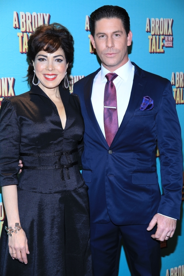 <p>Onstage spouses Richard H. Blake and Lucia Giannetta snap a photo.</p><br />(© Tricia Baron)