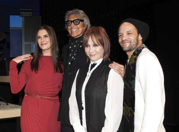 <p>Opening-night guests Brooke Shields, Tommy Tune, Michele Lee, and Savion Glover take a snapshot together.</p><br />(© Allison Stock)
