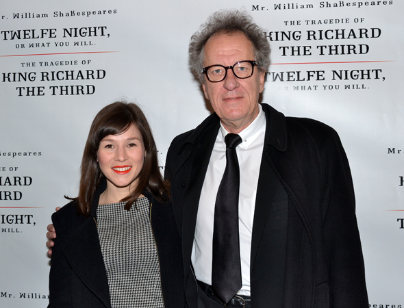 <p><em>Orange Is the New Black</em> cast member Yael Stone joins fellow Aussie Geoffrey Rush for the opening of <em>Richard III</em>.</p><br />(© David Gordon)