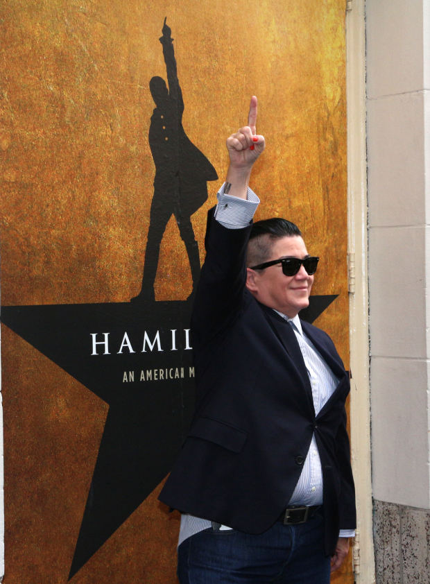 <p><em>Orange Is the New Black</em> star Lea DeLaria strikes the Alexander Hamilton pose.</p><br />(© David Gordon)