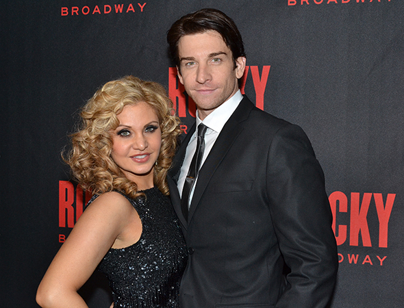 <p>Orfeh and Andy Karl are always happy to stop for photos.</p><br />(© David Gordon)
