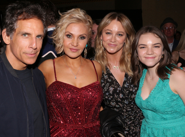 <p>Orfeh (second from left) poses with Ben Stiller, Christine Taylor, and Ella Stiller.</p><br />(© David Gordon)
