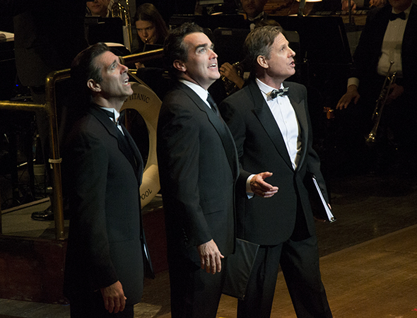 <p>Original Broadway cast members David Elder, Brian d&#39&#x3B;Arcy James, and Martin Moran sing together.</p><br />(© David Gordon)