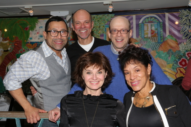 <p>Original <em>Cats</em> cast members Herman Sebek (Pouncival), Robert Hoshour (Tumblebrutus), Steven Hack (production understudy), Donna King (Bombalurina), and  Marlene Danielle (understudy and replacement Bombalurina) reunite at a luncheon before seeing the show&#39&#x3B;s new revival.</p><br />(© David Gordon)