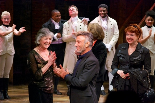 <p>Original <em>Chorus Line</em> stars including Wayne Cilento (center) and Donna McKechnie (right) take the stage to cheers from cast and audience.</p><br />(© Kristin Goehring)