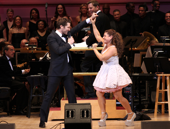 <p>Original <em>Hairspray</em> costars Matthew Morrison and Marissa Jaret Winokur can&#39&#x3B;t stop the beat.</p><br />(© David Gordon)