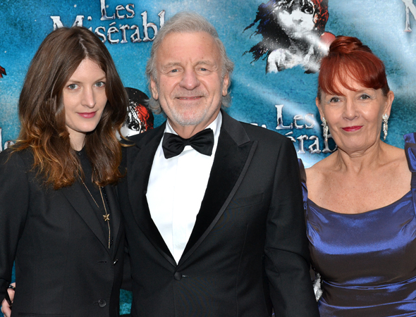 <p>Original Jean Valjean Colm Wilkinson (center) arrives to see the Broadway revival of <em>Les Misérables</em> with his wife, Deirdre, and their daughter Sarah.</p><br />(© David Gordon)
