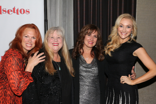 <p>Original players Carolee Carmello, Heather MacRae, and Janet Metz congratulate revival star Betsy Wolfe.</p><br />(© David Gordon)