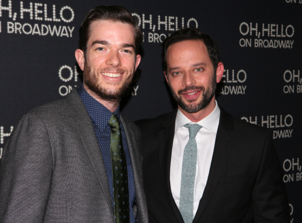 <p>Out of character, John Mulaney and Nick Kroll celebrate their opening night.</p><br />(© David Gordon)