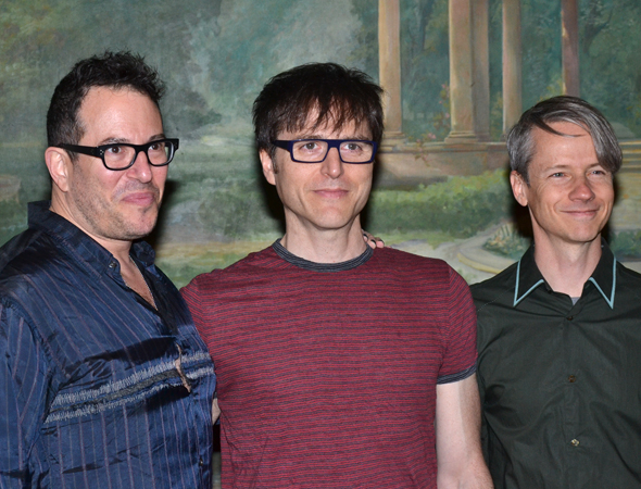 <p>Outstanding Director of a Musical nominee Michael Mayer with his <em>Hedwig and the Angry Inch</em> authors, Stephen Trask and John Cameron Mitchell.</p><br />(© David Gordon)