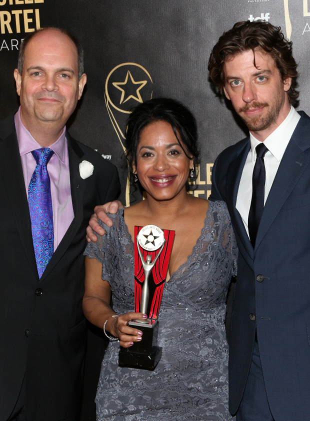 <p>Outstanding Featured Actress in a Play recipient Liza Colón-Zayas (<em>Between Riverside and Crazy</em>) with presenters Brad Oscar and Christian Borle of <em>Something Rotten!</em></p><br />(© David Gordon)