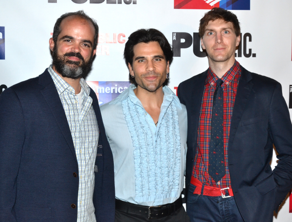 <p>Paco Lozano, Steel Burkhardt, and Alex Breaux take on a number of roles in the production.</p><br />(© David Gordon)