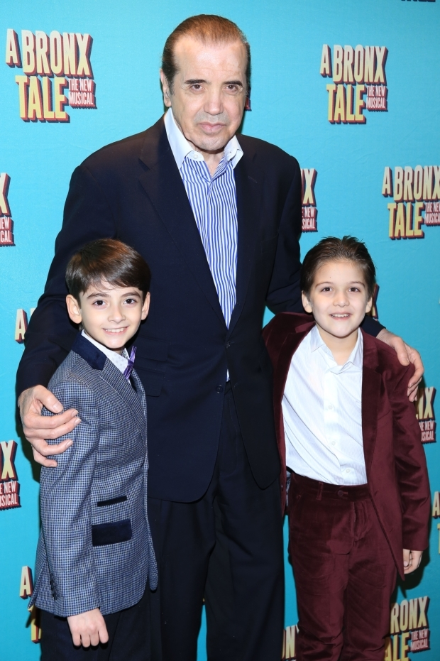 <p>Palminteri poses with the boys who alternate in the role of Young Calogero, Athan Sporek and Hudson Loverro.</p><br />(© Tricia Baron)