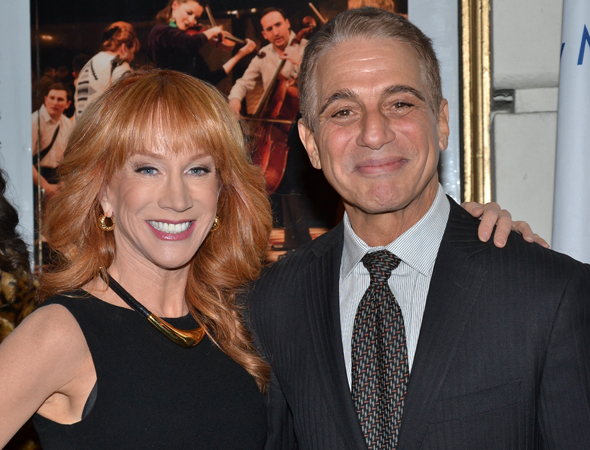 <p>Pals Kathy Griffin and Tony Dazna smile for the cameras.</p><br />(© David Gordon)