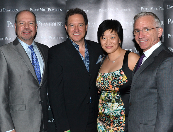 <p>Paper Mill Managing Director Todd Schmidt (left) and Producing Artistic Director Mark S. Hoebee (right) join producers Kevin McCollum and Lily Fan for an opening night photo.</p><br />(© David Gordon)