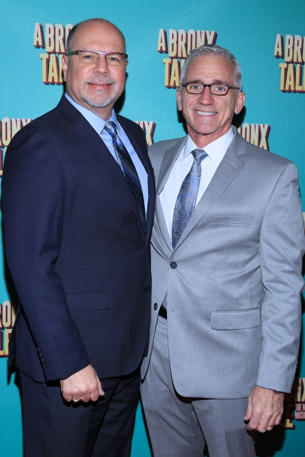 <p>Paper Mill Playhouse&#39&#x3B;s Todd Schmidt and Mark S. Hoebee celebrate the Broadway transfer of their world premiere.</p><br />(© Tricia Baron)