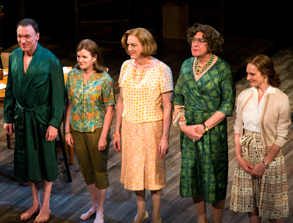 <p>Patrick Page, Mare Winningham, Reed Birney, Larry Pine, and Lisa Emery drink in the applause.</p><br />(© David Gordon)