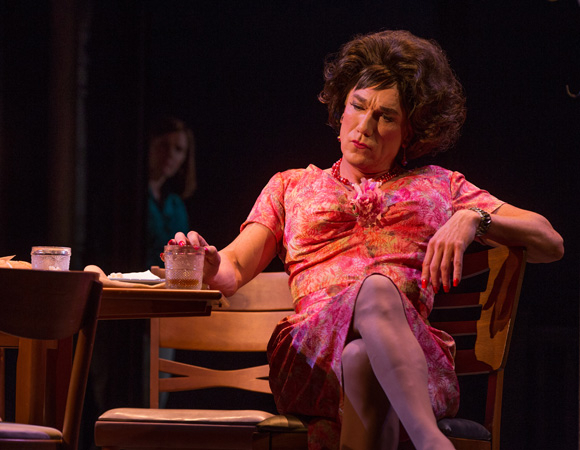 <p>Patrick Page stars as resort owner Valentina in <em>Casa Valentina</em>. </p><br />(© Joan Marcus)
