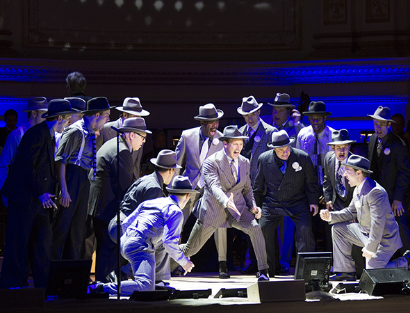 <p>Patrick Wilson leads the men of <em>Guys and Dolls</em> in &quot&#x3B;Luck Be a Lady.&quot&#x3B;</p><br />(© David Gordon)