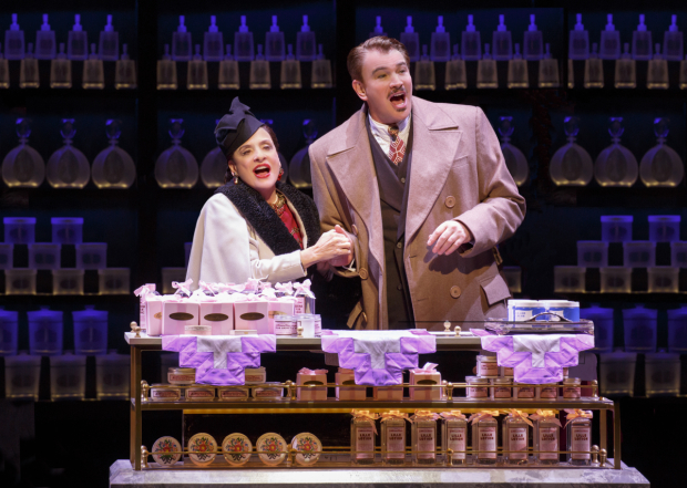 <p>Patti LuPone plays Helena Rubenstein alongside Douglas Sills, who takes on the role of Harry Fleming.</p><br />(© Joan Marcus)