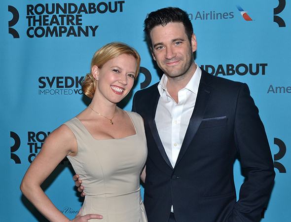 <p>Patti Murin and Colin Donnell are glad to be on hand to support Roundabout.</p><br />(© David Gordon)