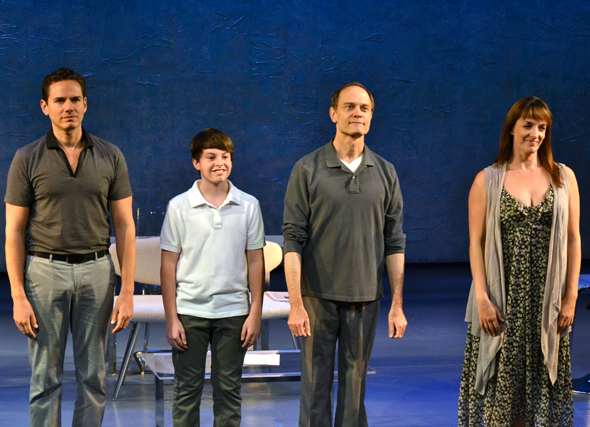 <p>Paul Anthony Stewart, Frankie Seratch, David Hyde Pierce, and Julia Murney take their curtain call at the Vineyard Theatre.</p><br />(© David Gordon)
