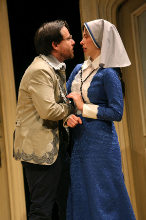 <p>Paul L. Coffey as Angelo and Emily Young as Isabella in a scene from the play.</p><br />(© Joan Marcus)