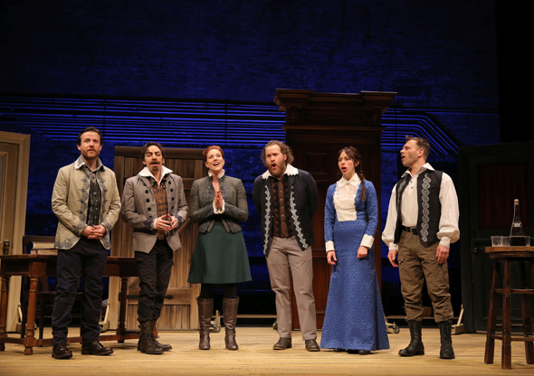 <p>Paul L. Coffey, Ben Steinfeld, Jessie Austrian, Andy Grotelueschen, Emily Young, and Noah Brody onstage at the New Victory Theater.</p><br />(© Joan Marcus)