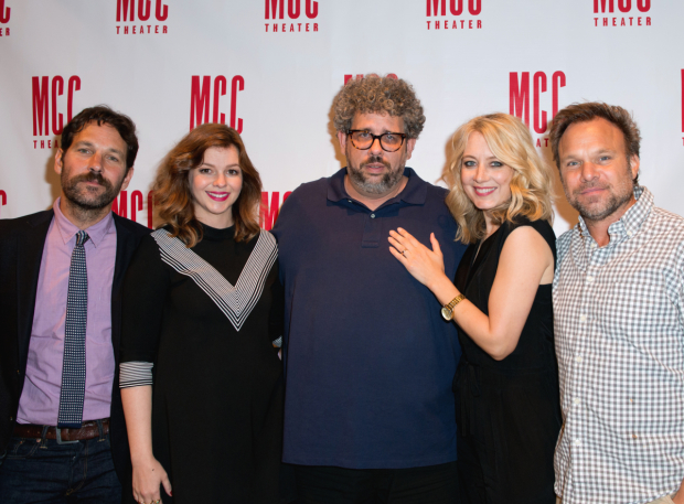 <p>Paul Rudd, Amber Tamblyn, Jennifer Mudge, and Norbert Leo Butz flank <em>Reasons to Be Pretty Happy</em> playwright Neil LaBute (center).</p><br />(© Allison Stock)