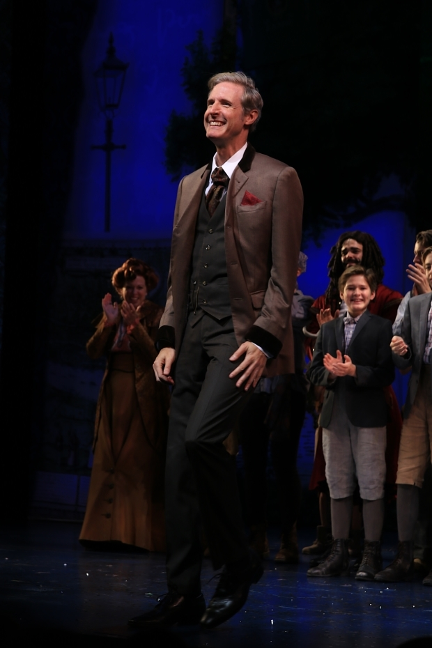 <p>Paul Slade Smith drinks in the applause for his performance as Charles Frohman.</p><br />(© Tricia Baron)