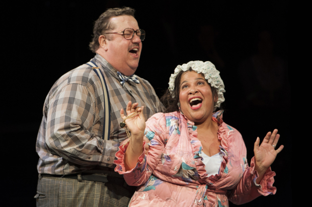 <p>Paul Vogt plays Mr. Bumble, with Rayanne Gonzales as the Widow Corney.</p><br />(© Margot Schulman)