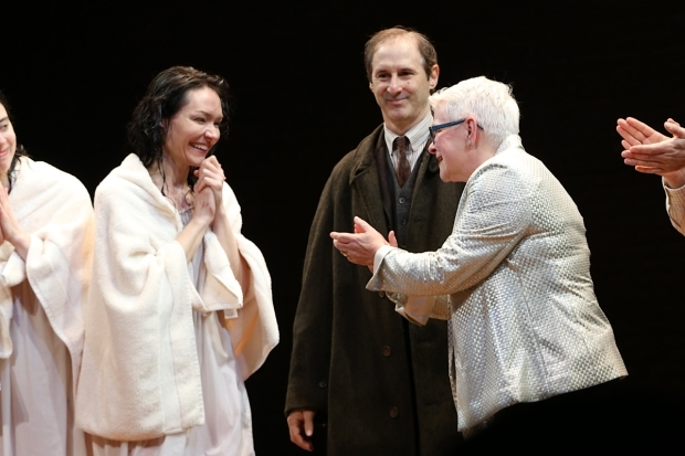 <p>Paula Vogel (right) applauds Katrina Lenk (left) as Richard Topol looks on (center).</p><br />(© Tricia Baron)