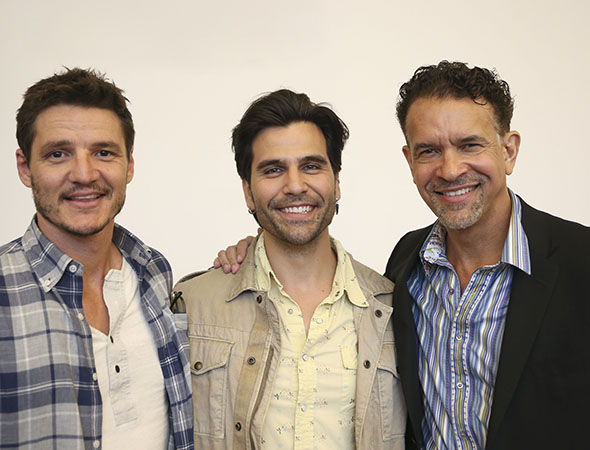 <p>Pedro Pascal, Steel Burkhardt, and Brian Stokes Mitchell celebrate the first rehearsal of <em>Much Ado About Nothing</em>.</p><br />(© Tammy Shell)