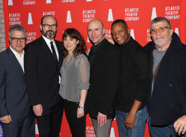<p>Neil Pepe (left) and David Mamet (right) pose with their cast: Chris Bauer, Rebecca Pidgeon, Jordan Lage, and Lawrence Gilliard Jr.</p><br />(© David Gordon)