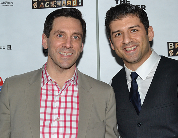 <p>Performers Michael Berresse and Tony Yazbeck stopped for a photo on the red carpet.</p><br />(© David Gordon)