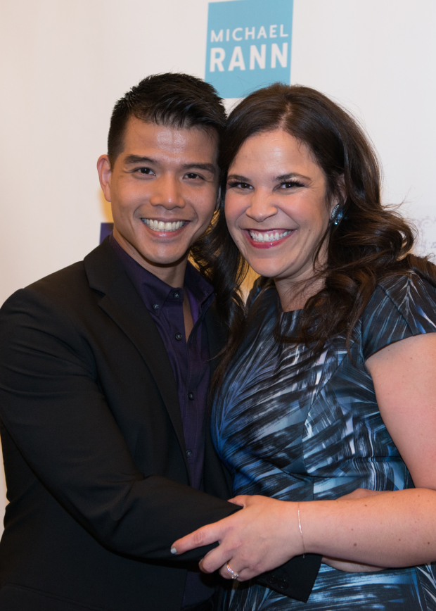 <p>Performers Telly Leung and Lindsay Mendez hug it out on the red carpet.</p><br />(© Allison Stock)