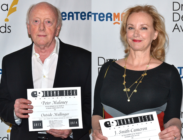 <p>Peter Maloney and J. Smith Cameron — Outstanding Featured Actor and Actress in a Play nominees for <em>Outside Mullingar</em> and <em>Juno and the Paycock</em>, respectively.</p><br />(© David Gordon)