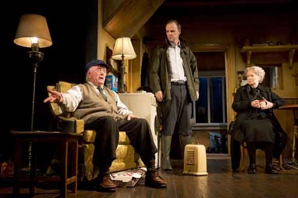<p>Peter Maloney, Brían F. O&#39&#x3B;Byrne, and Dearbhla Molloy play Irish farmers in <em>Outside Mullingar</em>.</p><br />(© Joan Marcus)
