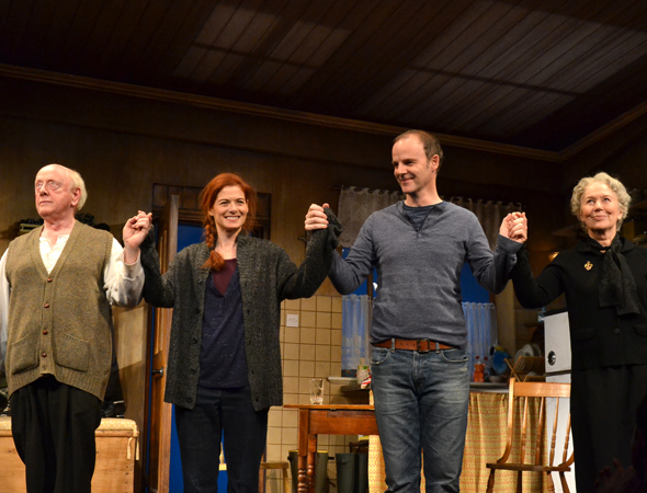 <p>Peter Maloney, Debra Messing, Brían F. O&#39&#x3B;Byrne, and Dearbhla Molloy take their company bow onstage.</p><br />(© David Gordon)