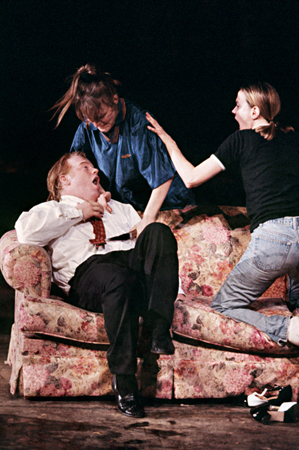 <p>Philip Seymour Hoffman (seated) made his stage debut as Raw Head and Bloody Bones in Caryl Churchill&#39&#x3B;s <em>The Skriker</em> at the Public Theater in 1996.</p><br />(© Michal Daniel)