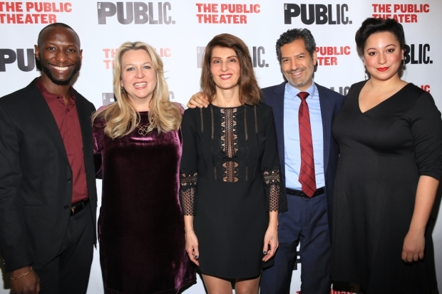 <p>Phillip James Brannon, Cheryl Strayed, Nia Vardalos, Alfredo Narciso, and Natalie Woolams-Torres make up the cast of <em>Tiny Beautiful Things</em>.</p><br />(© Tricia Baron)