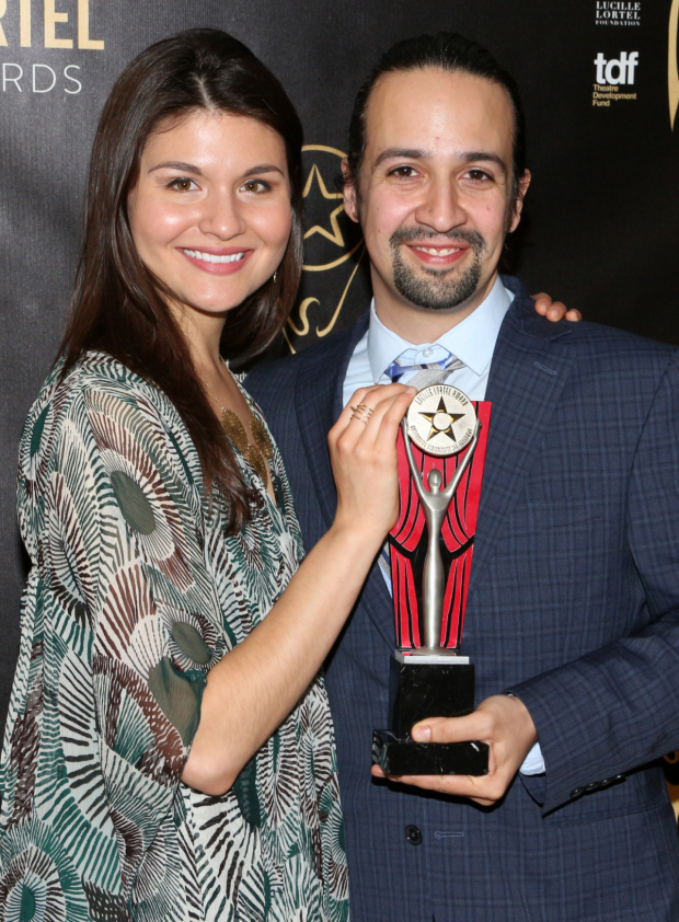 <p>Phillipa Soo and Lin-Manuel Miranda received Lortel Awards for Outstanding Lead Actress and Actor in a Musical for their work in <em>Hamilton</em>.</p><br />(© David Gordon)