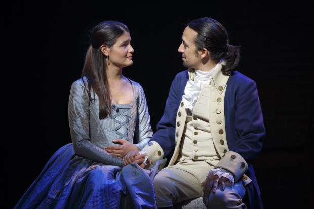 <p>Phillipa Soo and Lin-Manuel Miranda as Eliza Hamilton and her husband, Alexander.</p><br />(© Joan Marcus)